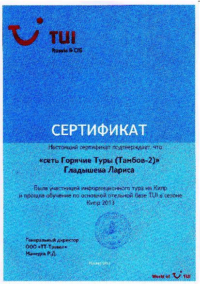 Сертификат Гладышева Туи 2013 г.